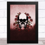 Gothic Skull With Red Roses Home Wall Art Print