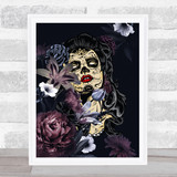Sugar Skull Flowers Gothic Home Wall Art Print