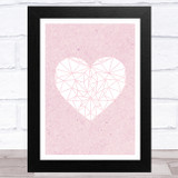 White Heart On Rustic Pink Home Wall Art Print