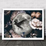 Moon Flowers Raven Gothic Home Wall Art Print