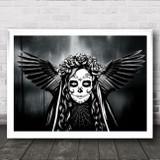 Winged Sugar Skull Gothic Home Wall Art Print