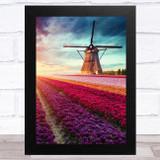 Windmill And Tulips Field Home Wall Art Print
