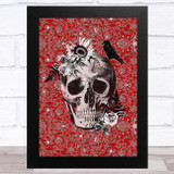 Skull Gothic Red Pattern Home Wall Art Print
