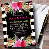 Pink Black & White Striped Floral 90th Customised Birthday Party Invitations