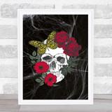 Flower Skull Red Gothic Home Wall Art Print
