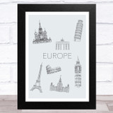 Famous Places Of Europe Home Wall Art Print