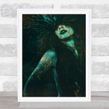 Woman Feathers Gothic Home Wall Art Print