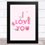 I Love You Pink Mouse Home Wall Art Print