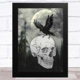 Raven Skull Gothic Home Wall Art Print