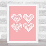 4 Lace Hearts Home Wall Art Print