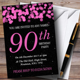 Pink Bokeh & Stars 90th Customised Birthday Party Invitations
