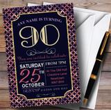 Pink Purple Glitz 90th Customised Birthday Party Invitations