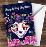 Bright Pink Blue Gothic Cat Skull Floral Personalised Birthday Card