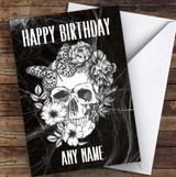 Flower Skull Black & White Gothic Personalised Birthday Card