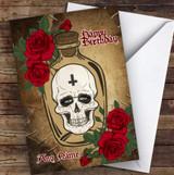 Skull In Jar Red Flowers Gothic Personalised Birthday Card