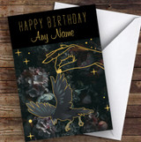 Hand Holding Raven Gold Gothic Personalised Birthday Card