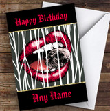 Mouth Crushing Skull Gothic Personalised Birthday Card