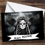 Winged Sugar Skull Gothic Personalised Birthday Card