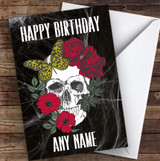 Flower Skull Red Gothic Personalised Birthday Card