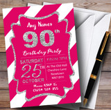 Pink White Diagonal Stripes Silver 90th Customised Birthday Party Invitations
