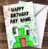 Unspeakable Youtuber Frog Splatter Art Children's Kids Birthday Card