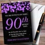 Purple Bokeh & Stars 90th Customised Birthday Party Invitations