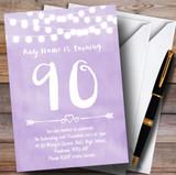 Purple Lilac Lights 90th Customised Birthday Party Invitations