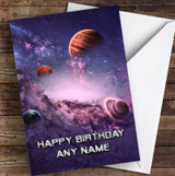 Celestial Collection Planets Space Dark Purple Personalised Birthday Card