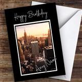 New York City Skyline Sun Design Pretty Personalised Birthday Card