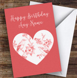 Birds On A Branch Of Apple Blossoms In Heart Romantic Personalised Birthday Card