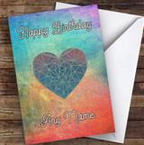 Colourful Rainbow Geometric Heart Romantic Personalised Birthday Card