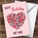 Flowers Heart On Pink Background Romantic Personalised Birthday Card