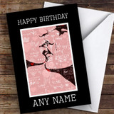 Vintage Abstract Kissing Couple Romantic Personalised Birthday Card