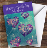 Green Abstract Purple Hearts Romantic Personalised Birthday Card