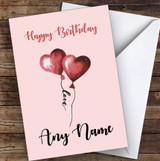 Two Hearts With Love String Romantic Personalised Birthday Card
