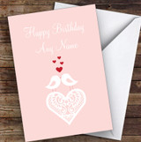 2 Birds Kissing Lace Heart Romantic Personalised Birthday Card
