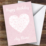 White Heart On Rustic Pink Romantic Personalised Birthday Card