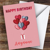 Hearts Balloons Gift Romantic Personalised Birthday Card