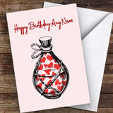 Love Poison Bottle Romantic Personalised Birthday Card