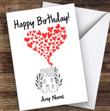 House With Hearts Romantic Personalised Birthday Card