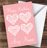 4 Lace Hearts Romantic Personalised Birthday Card