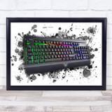 Gaming Keyboard Splatter Art Children's Kid's Wall Art Print