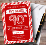 Red & White Stripy Deco 90th Customised Birthday Party Invitations