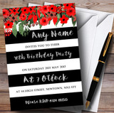 Red Floral Black White Silver 90th Customised Birthday Party Invitations