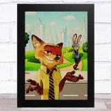 Zootropolis Retro Children's Kid's Wall Art Print