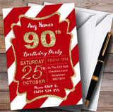 Red White Diagonal Stripes Gold 90th Customised Birthday Party Invitations