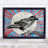 Retro Colour Burst Hand Drawn Crow Gothic Wall Art Print