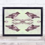 Retro Screen Print Mirrored Crow Gothic Wall Art Print
