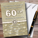 Titanium Gold And White 60Th Customised Anniversary Party Invitations