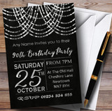 Silver Draped Garland 90th Customised Birthday Party Invitations